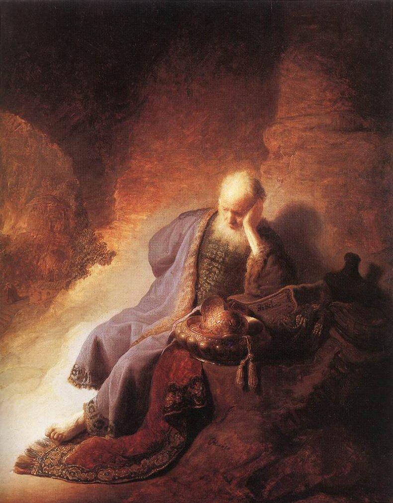 Jeremiah lamenting the destruction of Jerusalem, Rembrandt, 1630