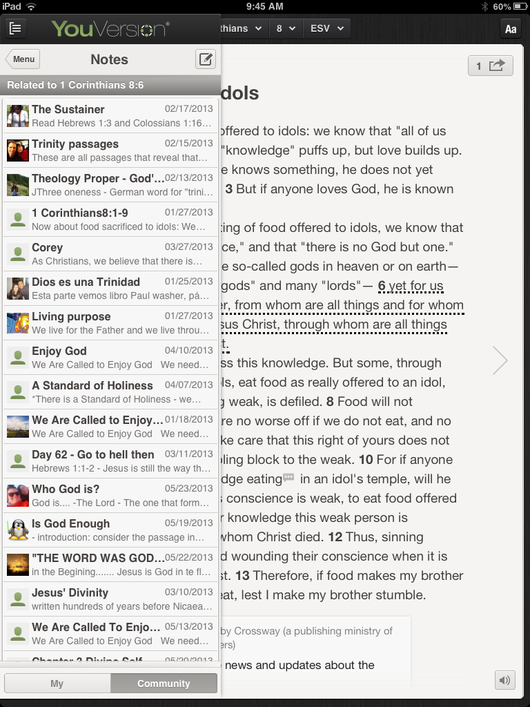 Community notes in the Youversion Bible app